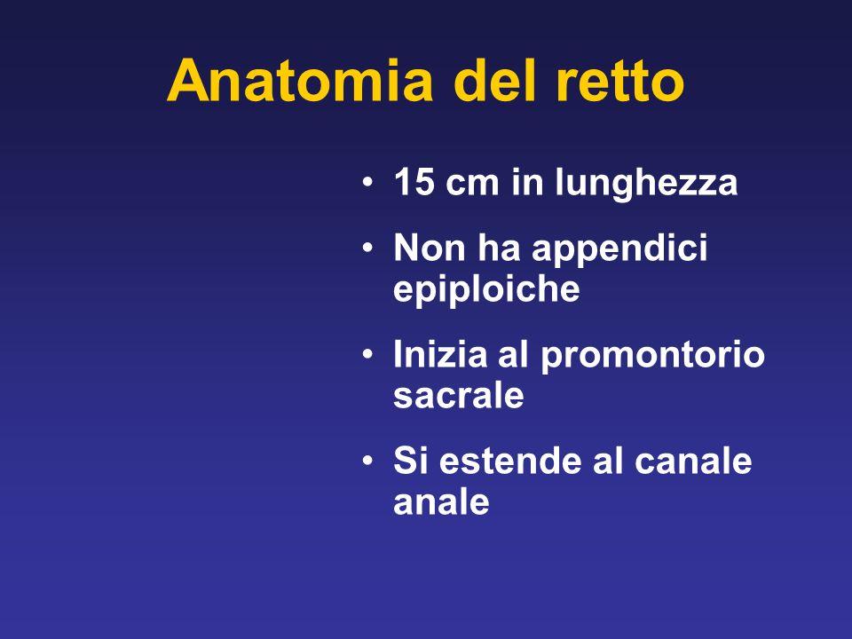 Anatomia del retto 15 cm in lunghezza Non ha appendici epiploiche Inizia al promontorio sacrale Si estende al canale anale