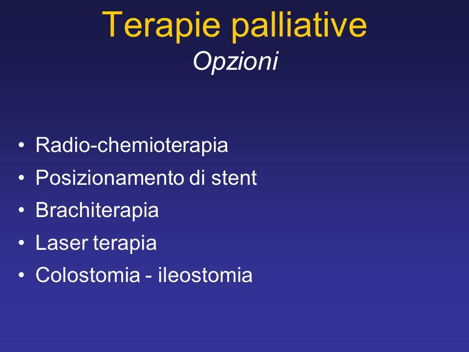 Terapie palliative Opzioni Radio-chemioterapia Posizionamento di stent Brachiterapia Laser terapia Colostomia - ileostomia