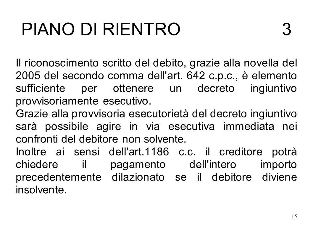 15 PIANO DI RIENTRO 3 Il riconoscimento scritto del debito, grazie alla novella del 2005 del secondo comma dell art.