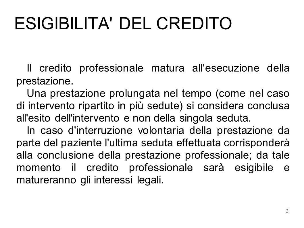 2 ESIGIBILITA DEL CREDITO Il credito professionale matura all esecuzione della prestazione.