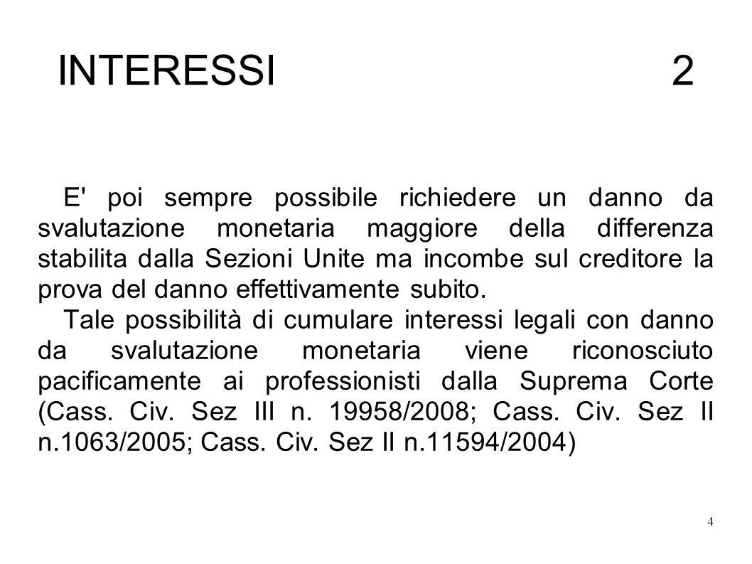 4 INTERESSI 2 E poi sempre possibile richiedere un danno da svalutazione monetaria maggiore della differenza stabilita dalla Sezioni Unite ma incombe sul creditore la prova del danno effettivamente subito.