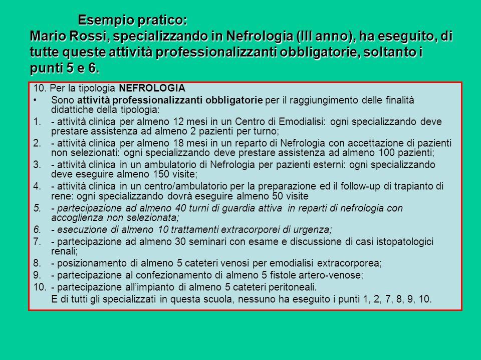 Esempio pratico: Mario Rossi, specializzando in Nefrologia (III anno), ha eseguito, di tutte queste attività professionalizzanti obbligatorie, soltant