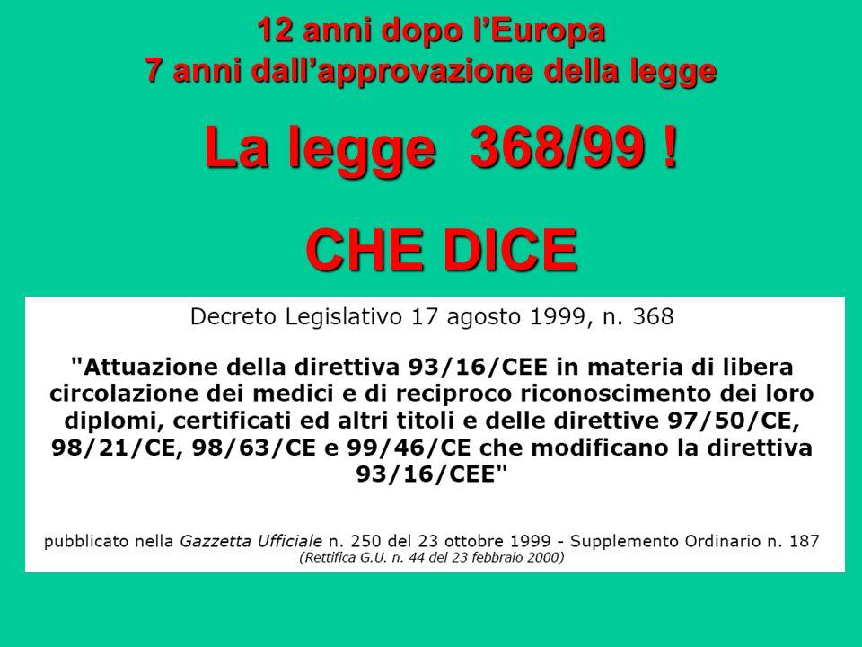 12 anni dopo lEuropa 7 anni dallapprovazione della legge La legge 368/99 ! CHE DICE