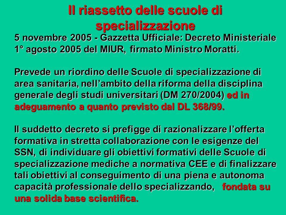 5 novembre 2005 - Gazzetta Ufficiale: Decreto Ministeriale 1° agosto 2005 del MIUR, firmato Ministro Moratti. Prevede un riordino delle Scuole di spec