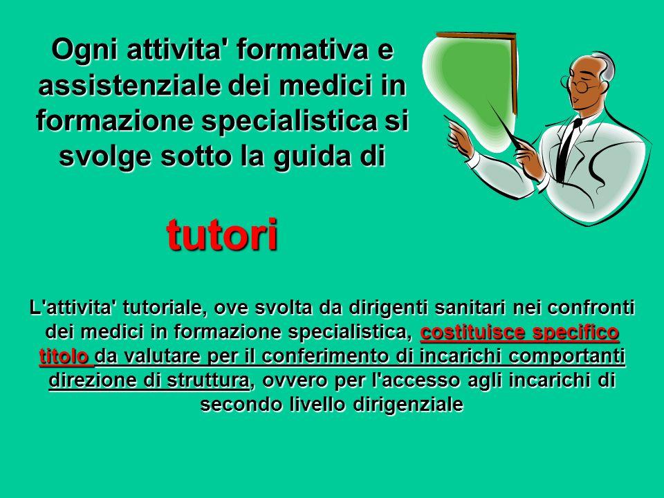 Ogni attivita' formativa e assistenziale dei medici in formazione specialistica si svolge sotto la guida di tutori L'attivita' tutoriale, ove svolta d