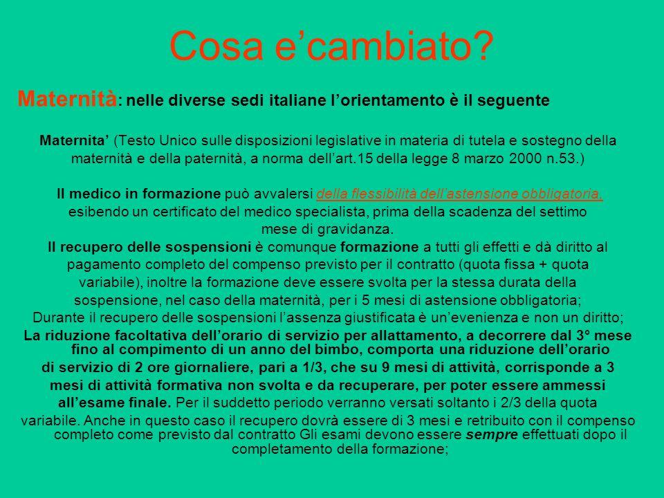 Cosa ecambiato? Maternità : nelle diverse sedi italiane lorientamento è il seguente Maternita (Testo Unico sulle disposizioni legislative in materia d