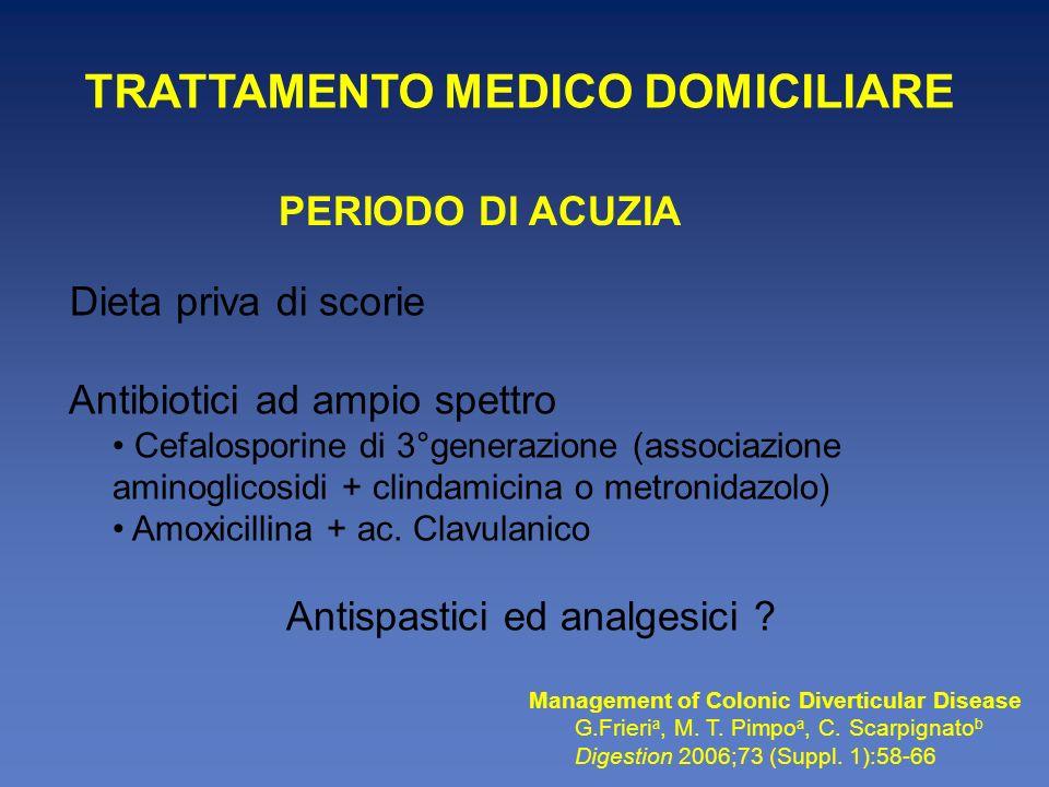 Motivi di ospedalizzazione Febbre > 38 C Paziente sofferente Arresto del transito Segni di coinvolgimento peritoneale Dolore che richiede analgesici maggiori Leucocitosi neutrofila M.