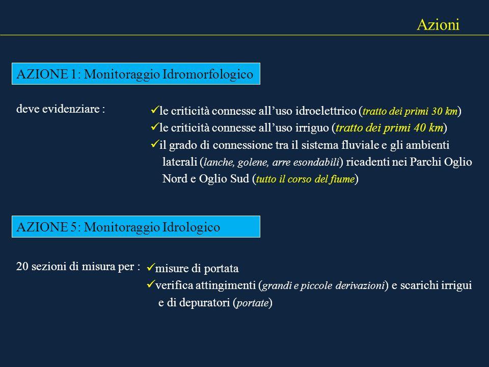 Azioni AZIONE 1: Monitoraggio Idromorfologico deve evidenziare : le criticità connesse alluso idroelettrico ( tratto dei primi 30 km ) le criticità co