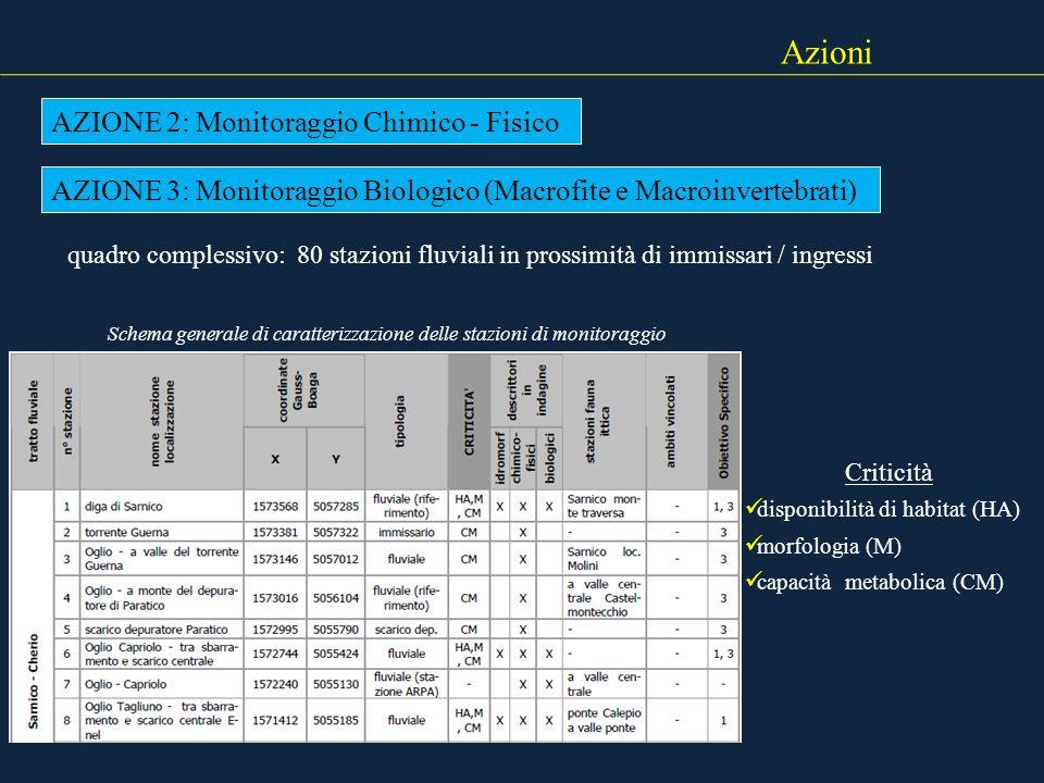 Azioni AZIONE 2: Monitoraggio Chimico - Fisico AZIONE 3: Monitoraggio Biologico (Macrofite e Macroinvertebrati) quadro complessivo: 80 stazioni fluvia