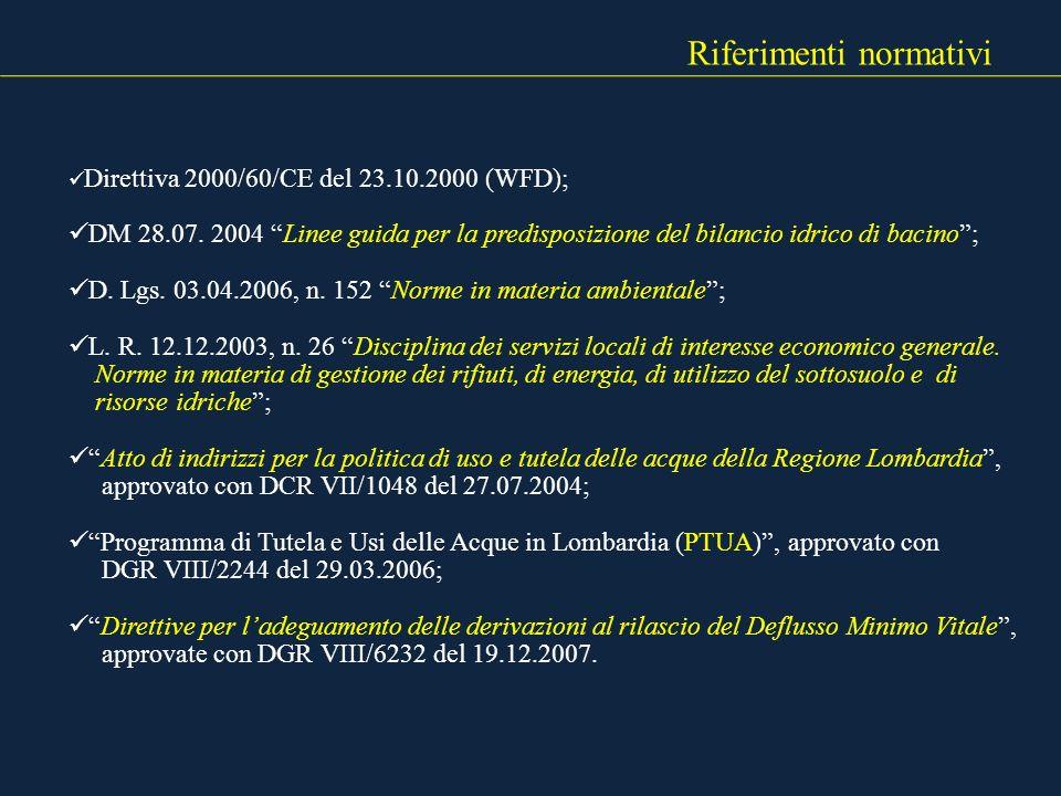 Riferimenti normativi Direttiva 2000/60/CE del 23.10.2000 (WFD); DM 28.07. 2004 Linee guida per la predisposizione del bilancio idrico di bacino; D. L