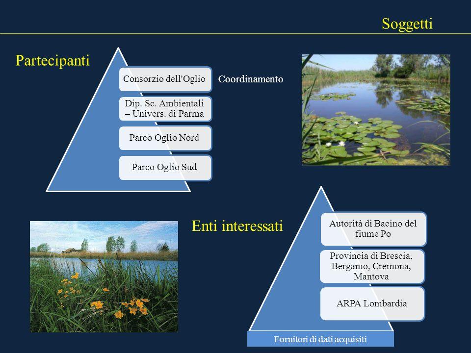 Soggetti Consorzio dell'Oglio Dip. Sc. Ambientali – Univers. di Parma Parco Oglio NordParco Oglio Sud Autorità di Bacino del fiume Po Provincia di Bre