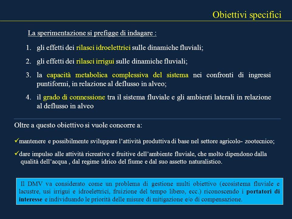 1.gli effetti dei rilasci idroelettrici sulle dinamiche fluviali; 2.gli effetti dei rilasci irrigui sulle dinamiche fluviali; 3.la capacità metabolica