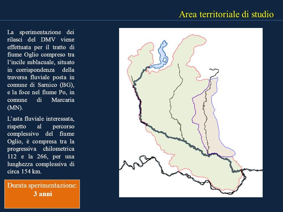 Area territoriale di studio La sperimentazione dei rilasci del DMV viene effettuata per il tratto di fiume Oglio compreso tra lincile sublacuale, situ