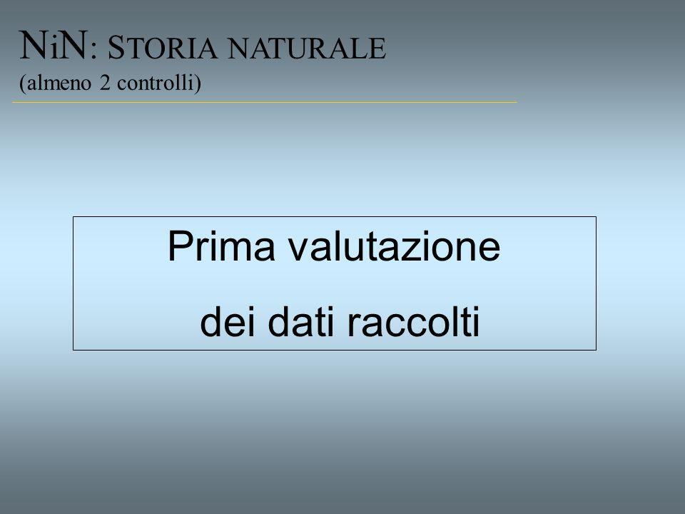 N i N : S TORIA NATURALE (almeno 2 controlli) Prima valutazione dei dati raccolti