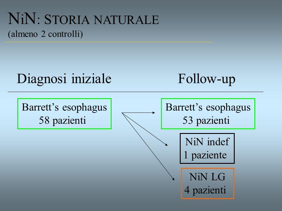 N i N : S TORIA NATURALE (almeno 2 controlli) Barretts esophagus 58 pazienti Diagnosi inizialeFollow-up Barretts esophagus 53 pazienti NiN LG 4 pazien