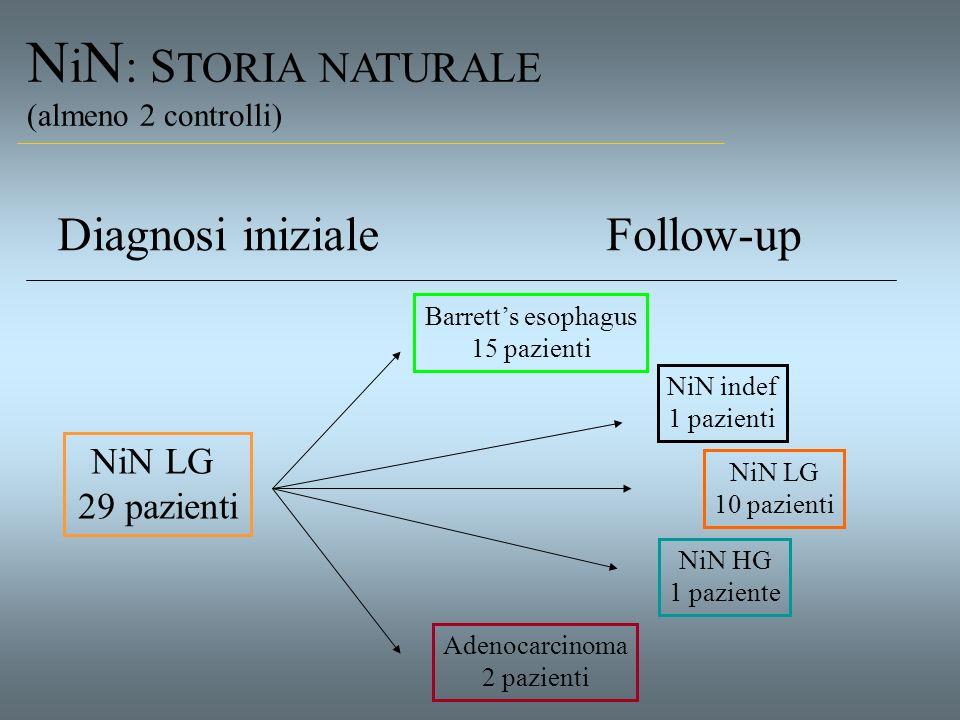 N i N : S TORIA NATURALE (almeno 2 controlli) NiN LG 29 pazienti Diagnosi inizialeFollow-up Barretts esophagus 15 pazienti NiN LG 10 pazienti NiN inde