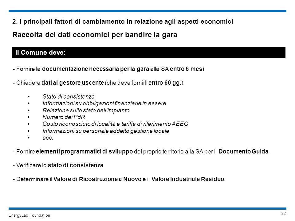 EnergyLab Foundation 2. I principali fattori di cambiamento in relazione agli aspetti economici Raccolta dei dati economici per bandire la gara - Forn