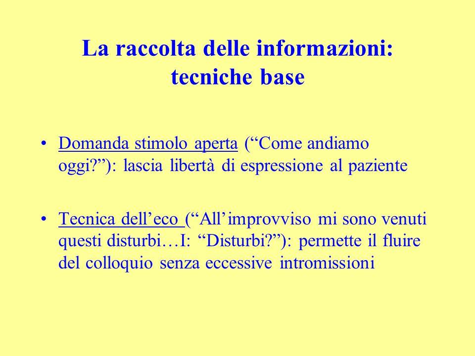 La raccolta delle informazioni: tecniche base Domanda stimolo aperta (Come andiamo oggi?): lascia libertà di espressione al paziente Tecnica delleco (