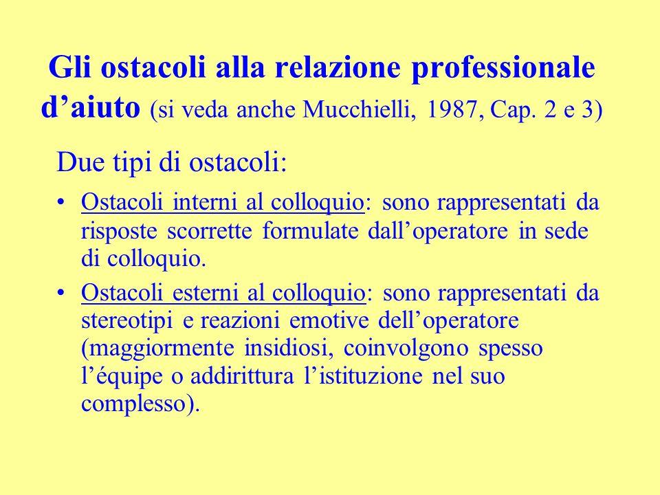 Gli ostacoli alla relazione professionale daiuto (si veda anche Mucchielli, 1987, Cap. 2 e 3) Due tipi di ostacoli: Ostacoli interni al colloquio: son