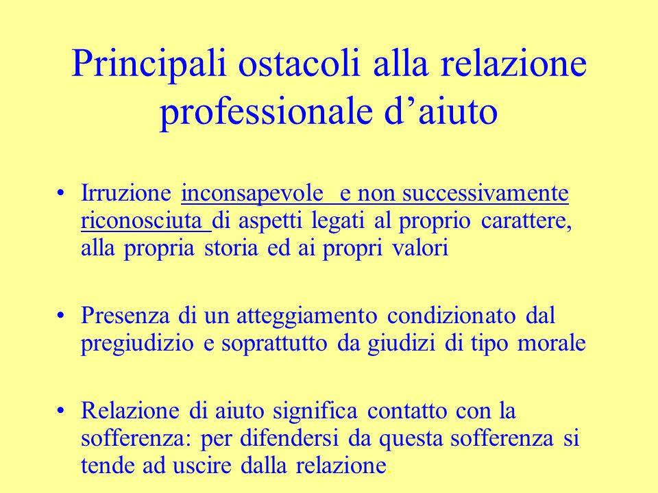 Principali ostacoli alla relazione professionale daiuto Irruzione inconsapevole e non successivamente riconosciuta di aspetti legati al proprio caratt