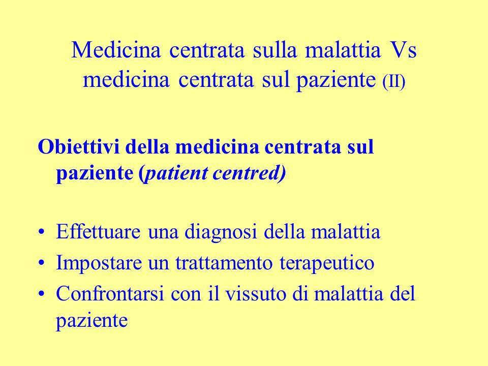 Medicina centrata sulla malattia Vs medicina centrata sul paziente (II) Obiettivi della medicina centrata sul paziente (patient centred) Effettuare un