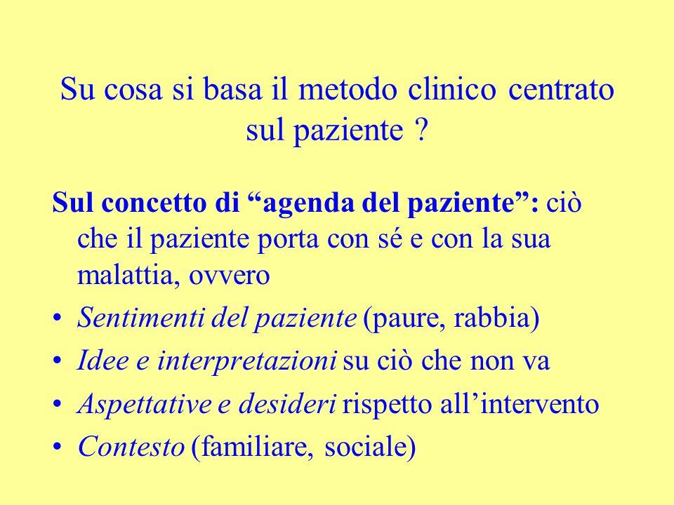 Su cosa si basa il metodo clinico centrato sul paziente ? Sul concetto di agenda del paziente: ciò che il paziente porta con sé e con la sua malattia,