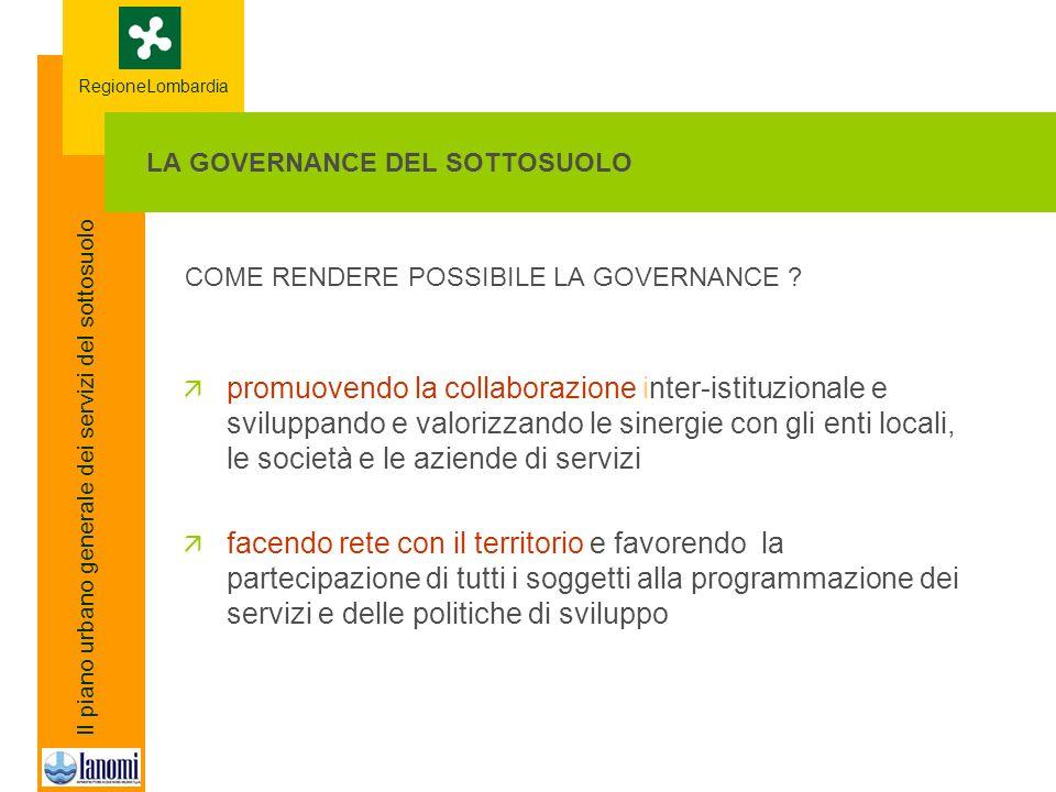 RegioneLombardia Il piano urbano generale dei servizi del sottosuolo COME RENDERE POSSIBILE LA GOVERNANCE .