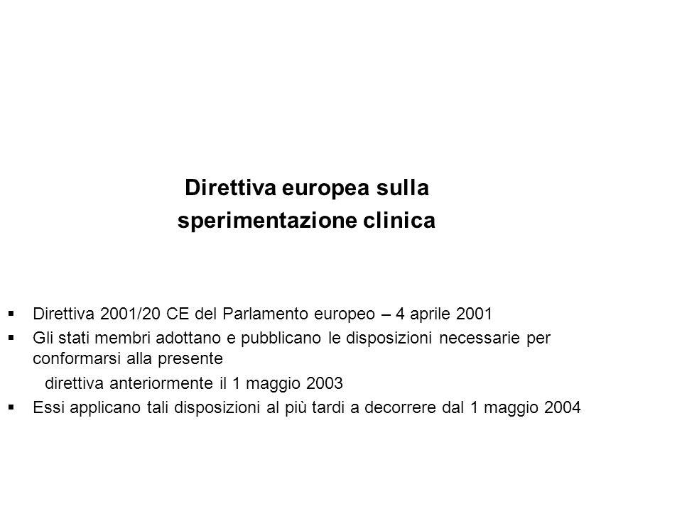 Direttiva europea sulla sperimentazione clinica Direttiva 2001/20 CE del Parlamento europeo – 4 aprile 2001 Gli stati membri adottano e pubblicano le