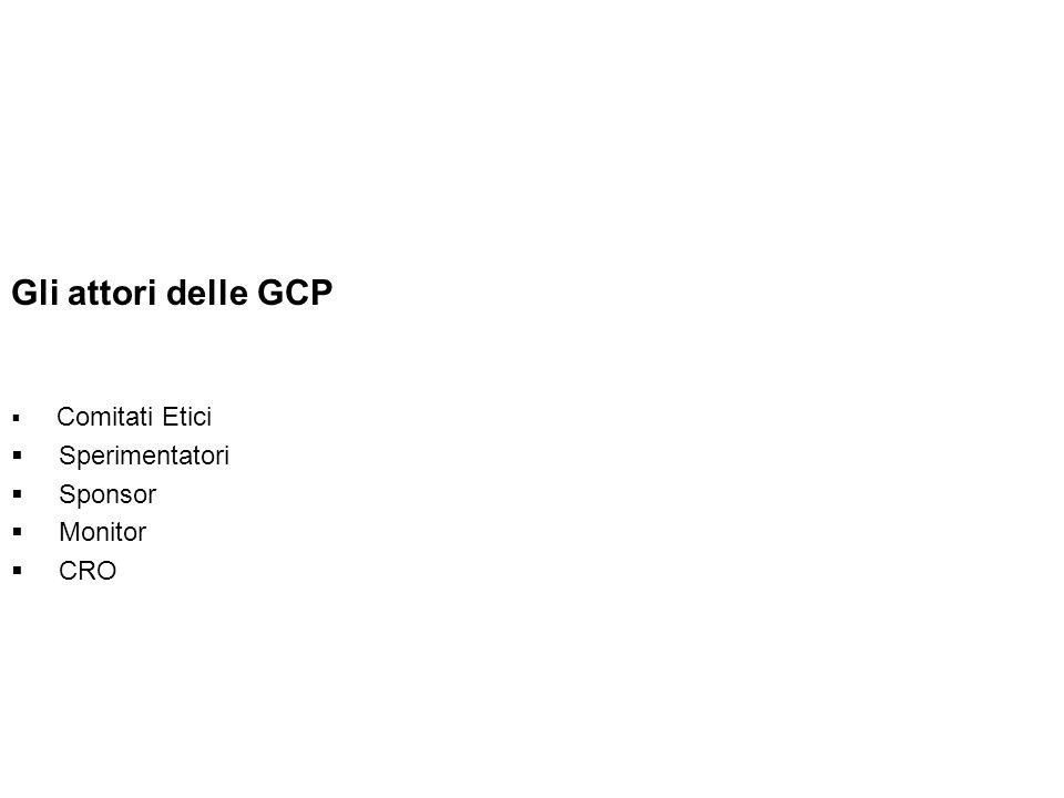 Gli attori delle GCP Comitati Etici Sperimentatori Sponsor Monitor CRO