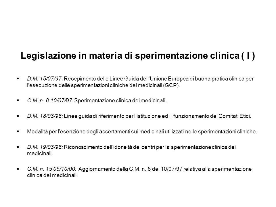 Legislazione in materia di sperimentazione clinica ( I ) D.M. 15/07/97: Recepimento delle Linee Guida dellUnione Europea di buona pratica clinica per