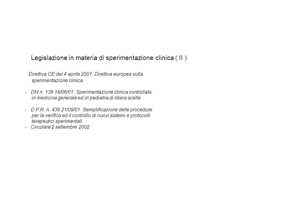 Legislazione in materia di sperimentazione clinica ( II ) Direttiva CE del 4 aprile 2001: Direttiva europea sulla sperimentazione clinica - DM n. 139