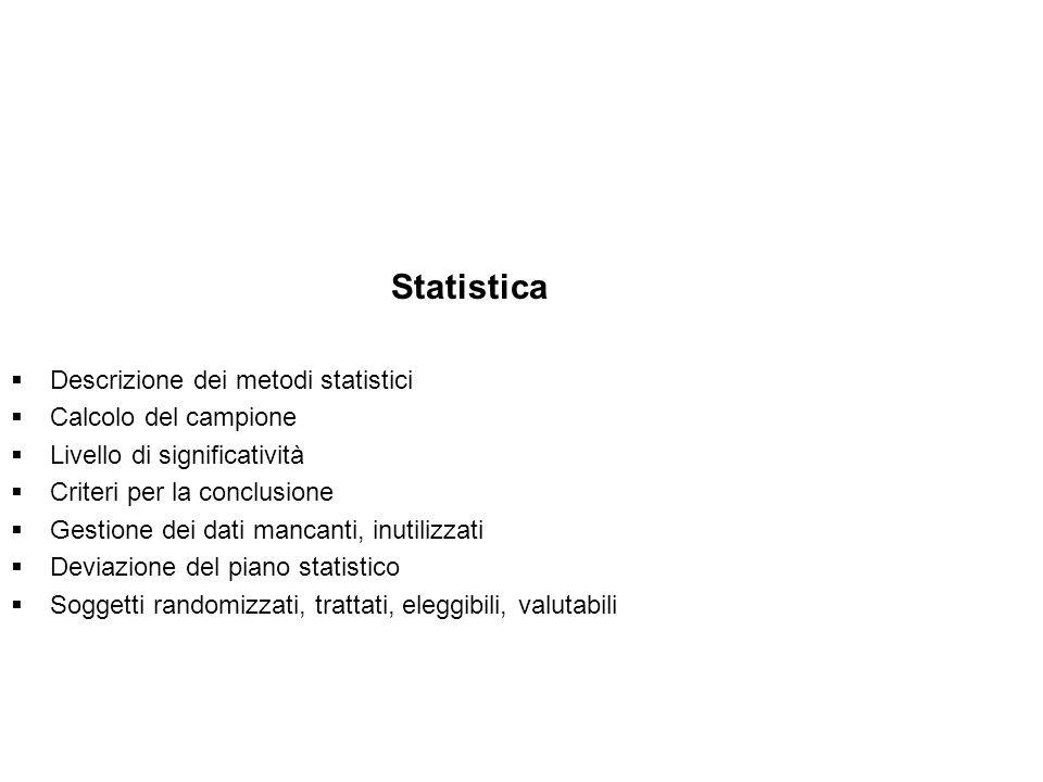 Statistica Descrizione dei metodi statistici Calcolo del campione Livello di significatività Criteri per la conclusione Gestione dei dati mancanti, in