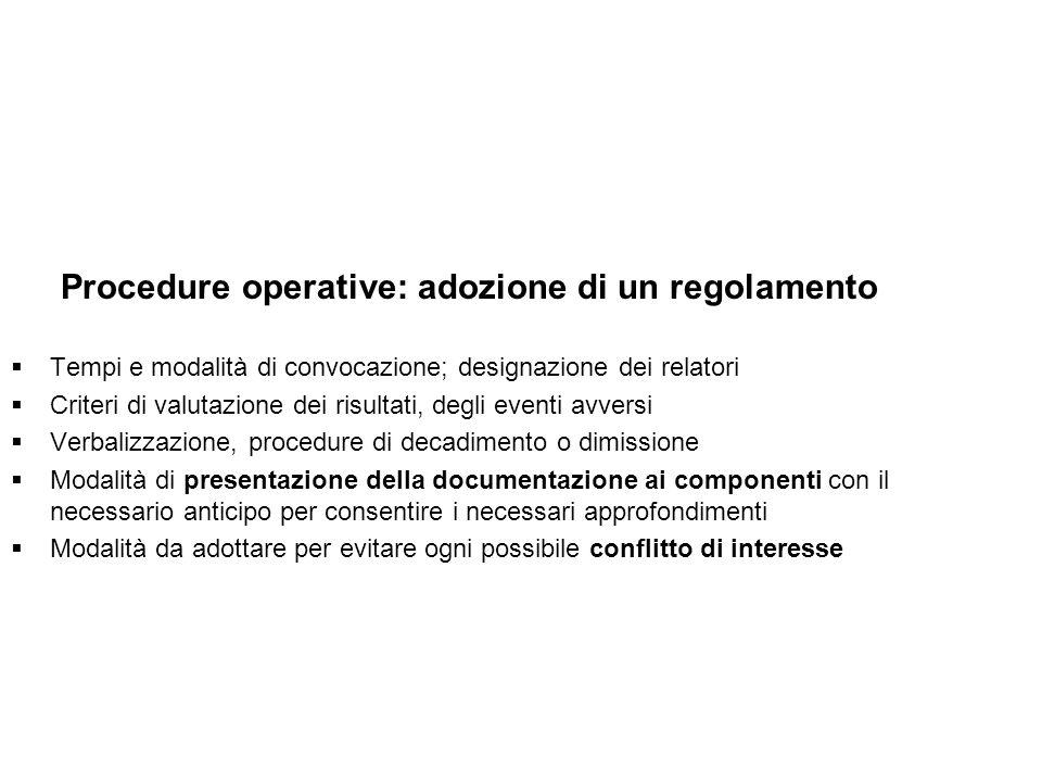 Procedure operative: adozione di un regolamento Tempi e modalità di convocazione; designazione dei relatori Criteri di valutazione dei risultati, degl