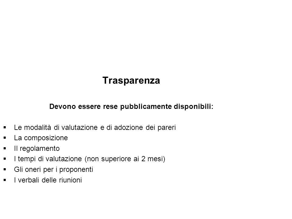 Trasparenza Devono essere rese pubblicamente disponibili: Le modalità di valutazione e di adozione dei pareri La composizione Il regolamento I tempi d
