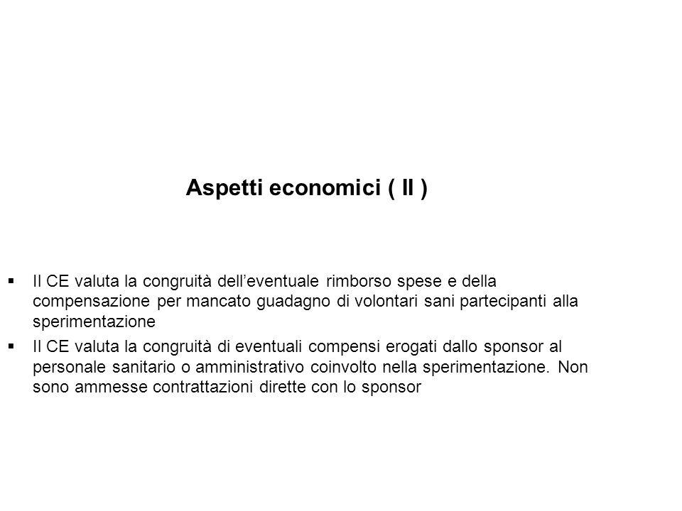 Aspetti economici ( II ) Il CE valuta la congruità delleventuale rimborso spese e della compensazione per mancato guadagno di volontari sani partecipa
