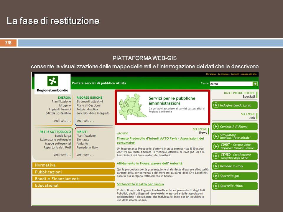 7/8 PIATTAFORMA WEB-GIS consente la visualizzazione delle mappe delle reti e linterrogazione dei dati che le descrivono La fase di restituzione