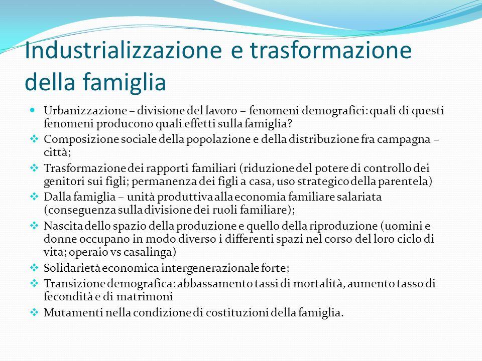 Industrializzazione e trasformazione della famiglia Urbanizzazione – divisione del lavoro – fenomeni demografici: quali di questi fenomeni producono q