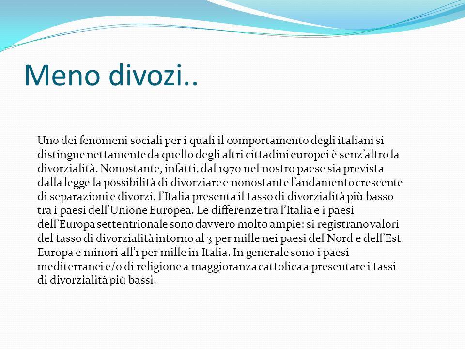 Meno divozi.. Uno dei fenomeni sociali per i quali il comportamento degli italiani si distingue nettamente da quello degli altri cittadini europei è s