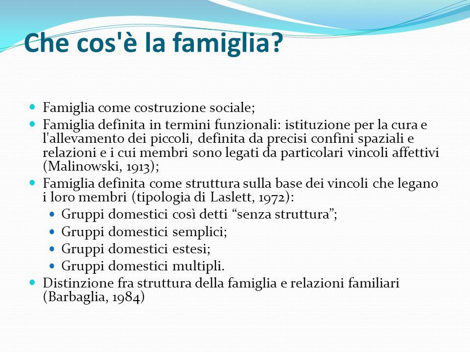 Che cos'è la famiglia? Famiglia come costruzione sociale; Famiglia definita in termini funzionali: istituzione per la cura e l'allevamento dei piccoli