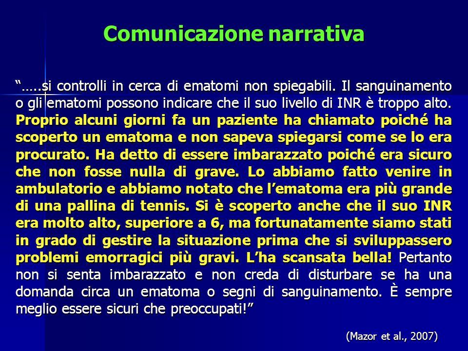 Comunicazione narrativa …..si controlli in cerca di ematomi non spiegabili. Il sanguinamento o gli ematomi possono indicare che il suo livello di INR