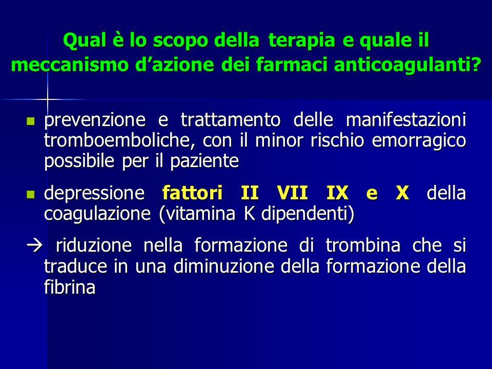 Qual è lo scopo della terapia e quale il meccanismo dazione dei farmaci anticoagulanti? prevenzione e trattamento delle manifestazioni tromboemboliche