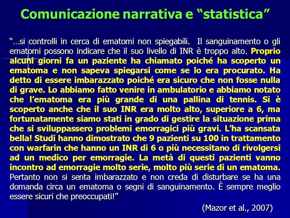 Comunicazione narrativa e statistica …si controlli in cerca di ematomi non spiegabili. Il sanguinamento o gli ematomi possono indicare che il suo live