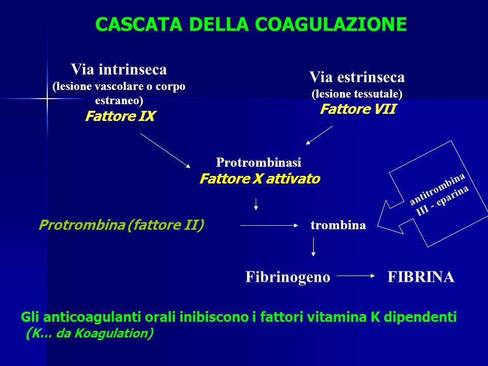 Via intrinseca (lesione vascolare o corpo estraneo) Fattore IX Via estrinseca (lesione tessutale) Fattore VII Protrombinasi Fattore X attivato Protrom