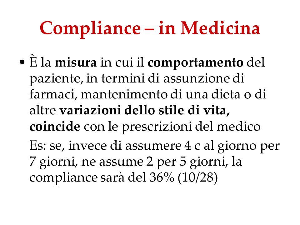 Compliance – in Medicina È la misura in cui il comportamento del paziente, in termini di assunzione di farmaci, mantenimento di una dieta o di altre v