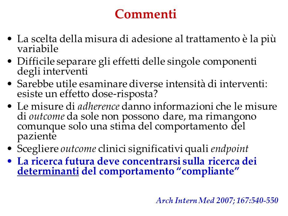 Commenti La scelta della misura di adesione al trattamento è la più variabile Difficile separare gli effetti delle singole componenti degli interventi