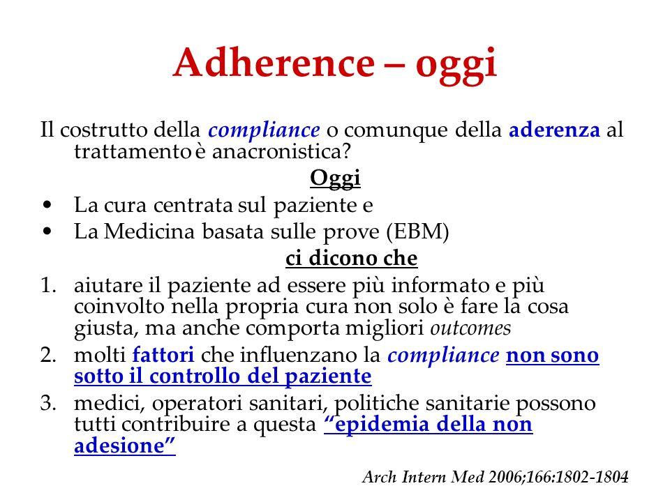 Adherence – oggi Il costrutto della compliance o comunque della aderenza al trattamento è anacronistica? Oggi La cura centrata sul paziente e La Medic