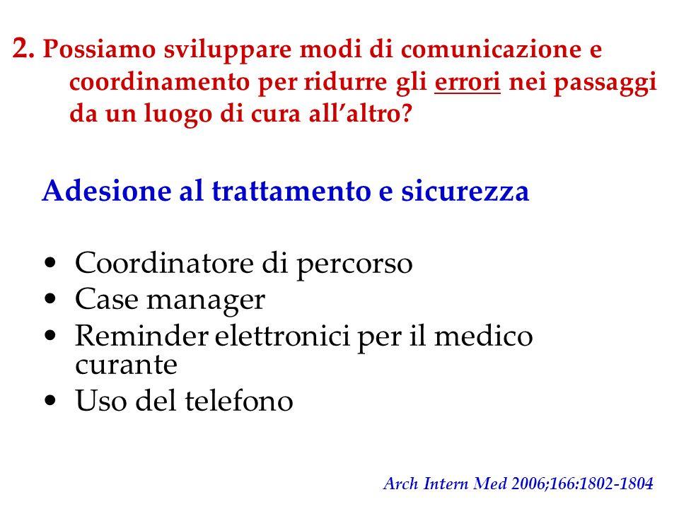 2. Possiamo sviluppare modi di comunicazione e coordinamento per ridurre gli errori nei passaggi da un luogo di cura allaltro? Adesione al trattamento