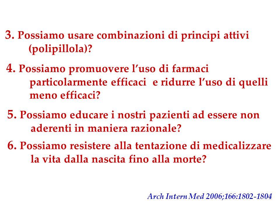 3. Possiamo usare combinazioni di principi attivi (polipillola)? Arch Intern Med 2006;166:1802-1804 4. Possiamo promuovere luso di farmaci particolarm