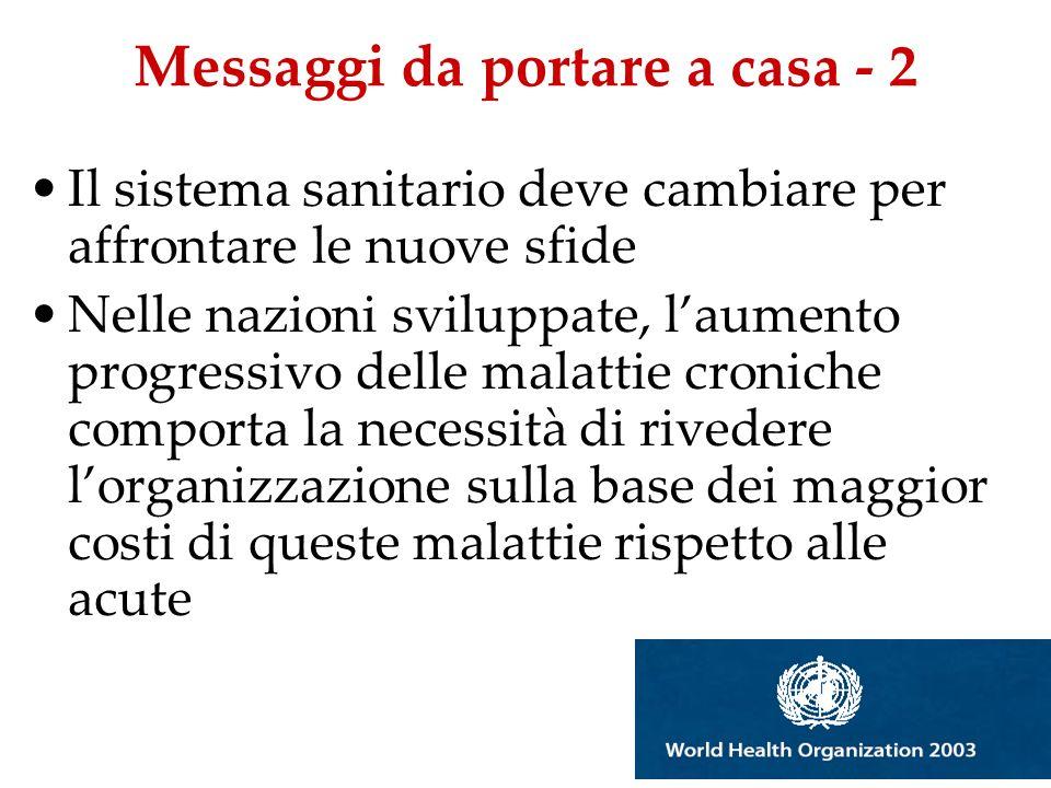 Messaggi da portare a casa - 2 Il sistema sanitario deve cambiare per affrontare le nuove sfide Nelle nazioni sviluppate, laumento progressivo delle m