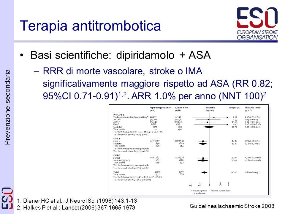 Prevenzione secondaria Guidelines Ischaemic Stroke 2008 Terapia antitrombotica Basi scientifiche: dipiridamolo + ASA –RRR di morte vascolare, stroke o IMA significativamente maggiore rispetto ad ASA (RR 0.82; 95%CI 0.71-0.91) 1,2.